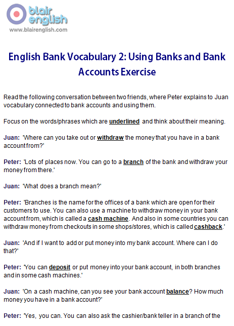 English Bank Vocabulary 2 exercise worksheet sample page