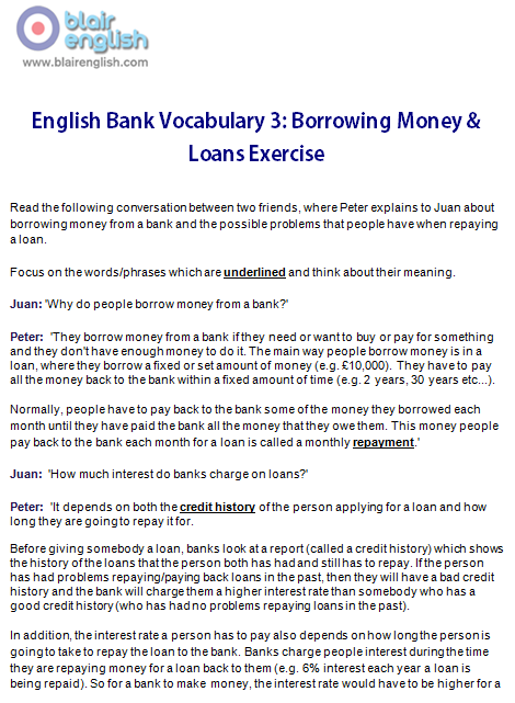 English Bank Vocabulary 3 exercise worksheet sample sage