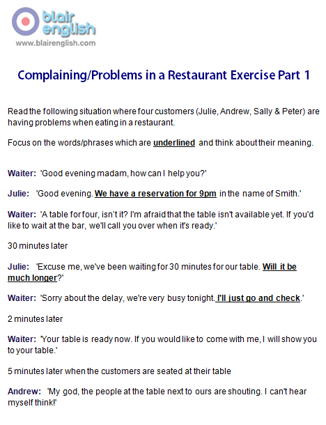 Complaining/Problems in a Restaurant Part 1 exercise worksheet sample page