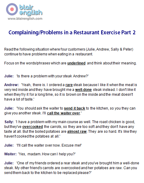 Complaining/Problems in a Restaurant Part 2 exercise worksheet sample page