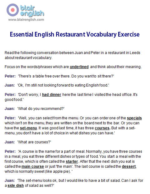 Essential English Restaurant Vocabulary exercise worksheet sample page