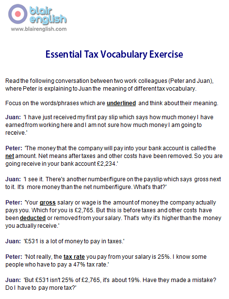 Essential Tax Vocabulary exercise worksheet sample page