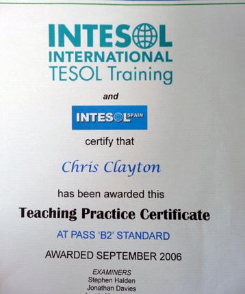 teacher training certificate